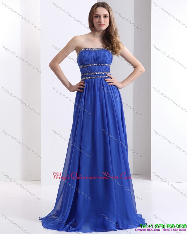 New Arrival 2015 Strapless Dama Dress with Ruching and Beading