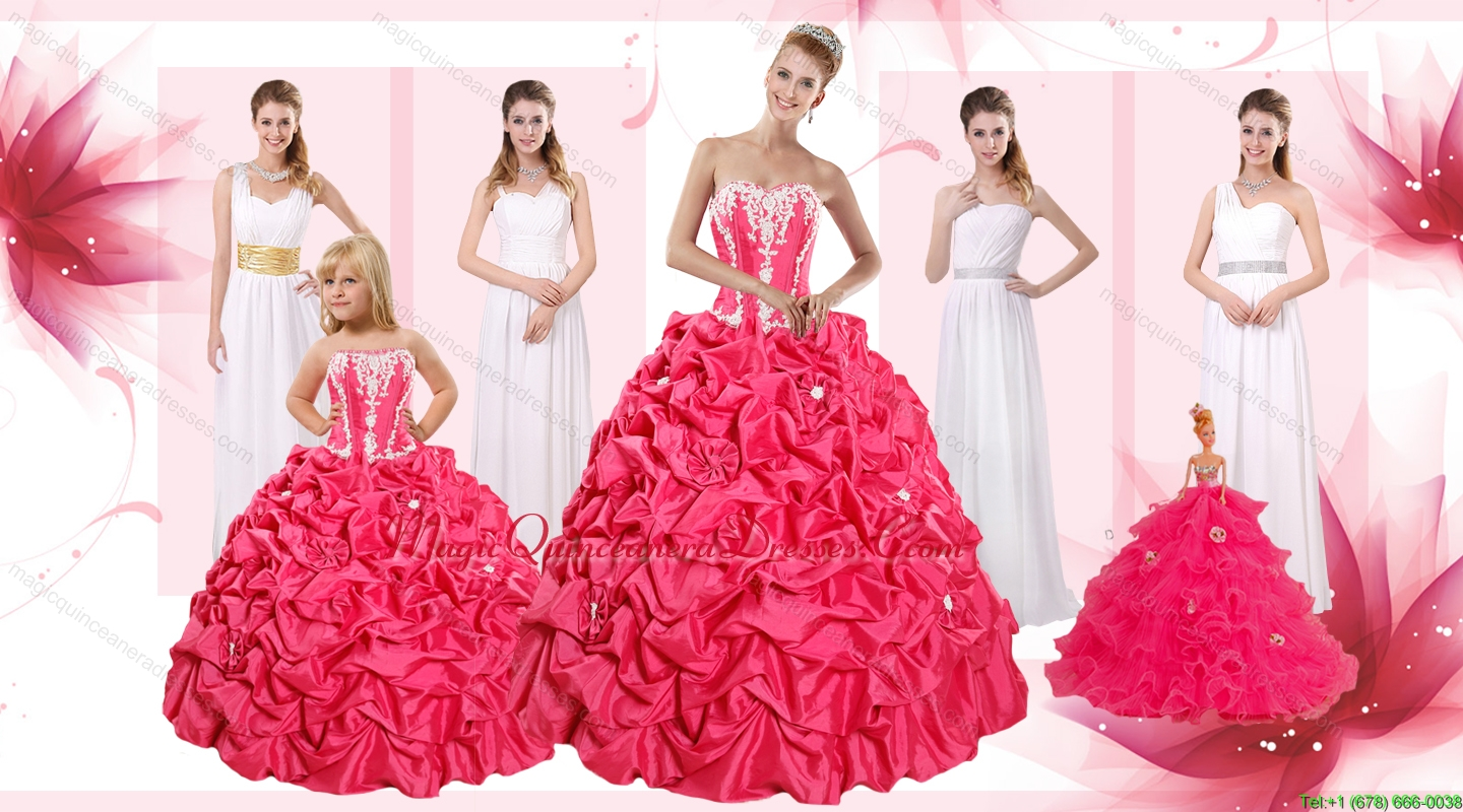 Appliques and Pick Ups Quinceanera Dress and White Long Dama Dresses ...