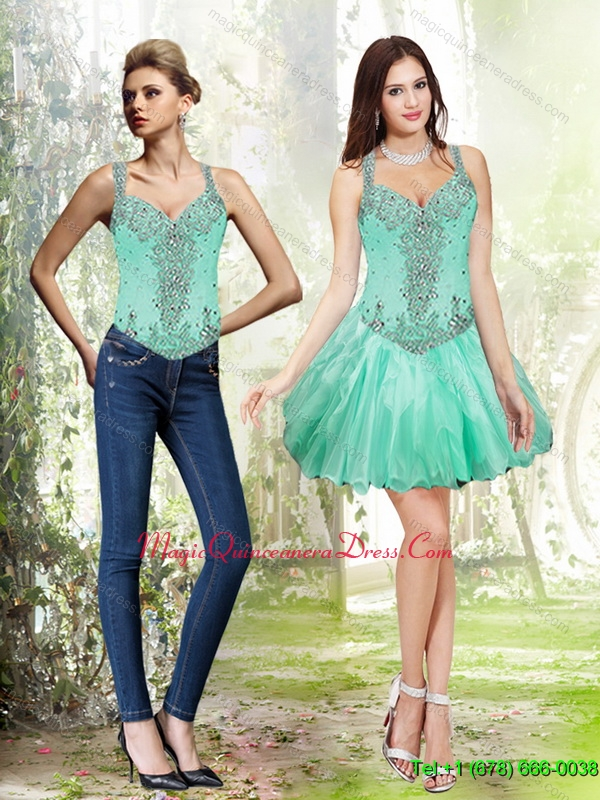 2015 Detachable Beading and Ruffles Apple Green Dama Dress