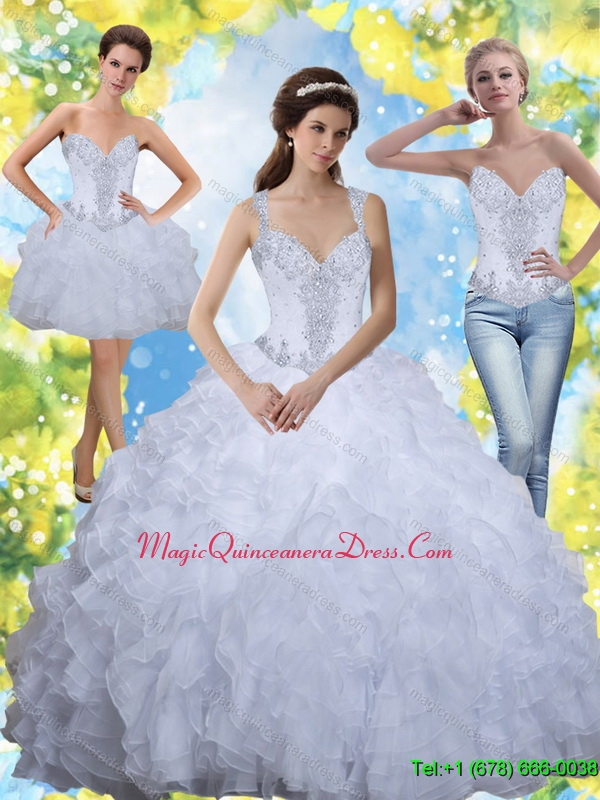 Hot Sale 2015 Beading and Ruffles White Sweet Sixteen Quinceanera Dresses