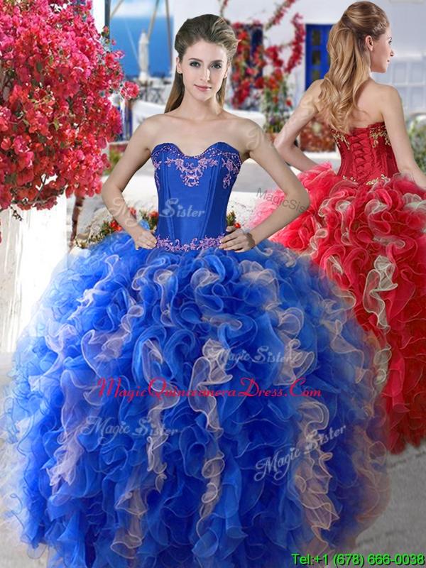 b56b9114793 Elegant Applique and Ruffled Big Puffy Quinceanera Dress in Organza