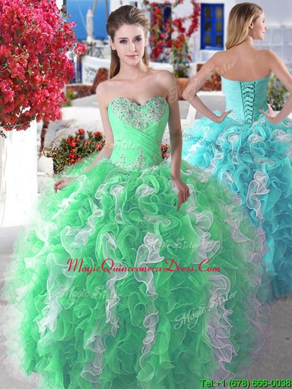 a0aaf598ba2 Wonderful Organza Big Puffy Sweet 16 Dress with Beading and Ruffles