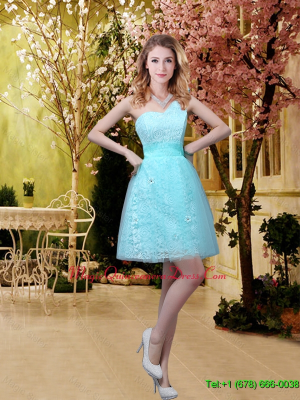 New Style A Line Laced Dama Dresses with Appliques in Aqua Blue