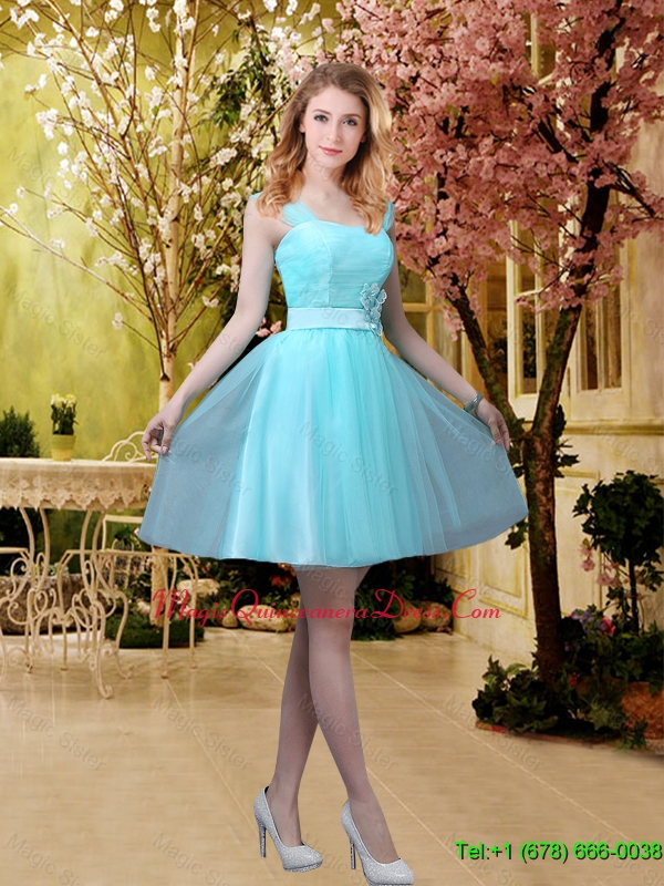 Pretty Aqua Blue Short Dama Dresses with Belt