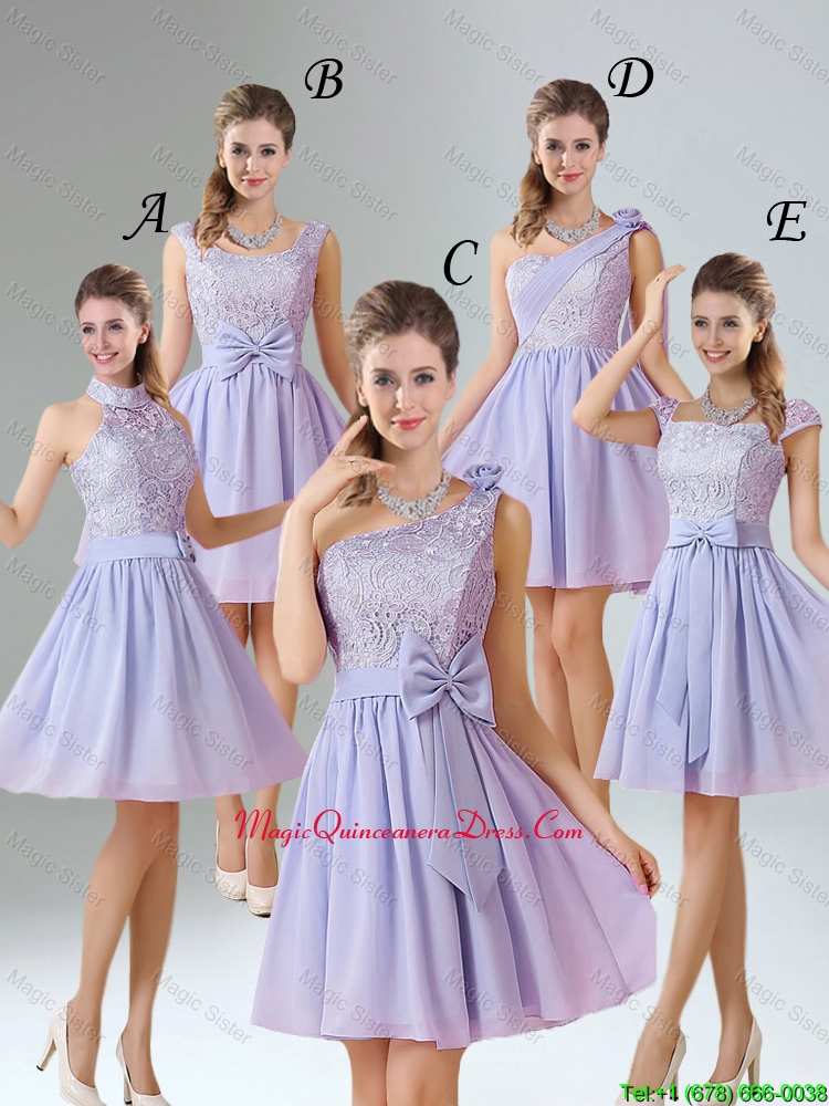 2016 Spring A Line Mini Length Dama Dresses in Lavender