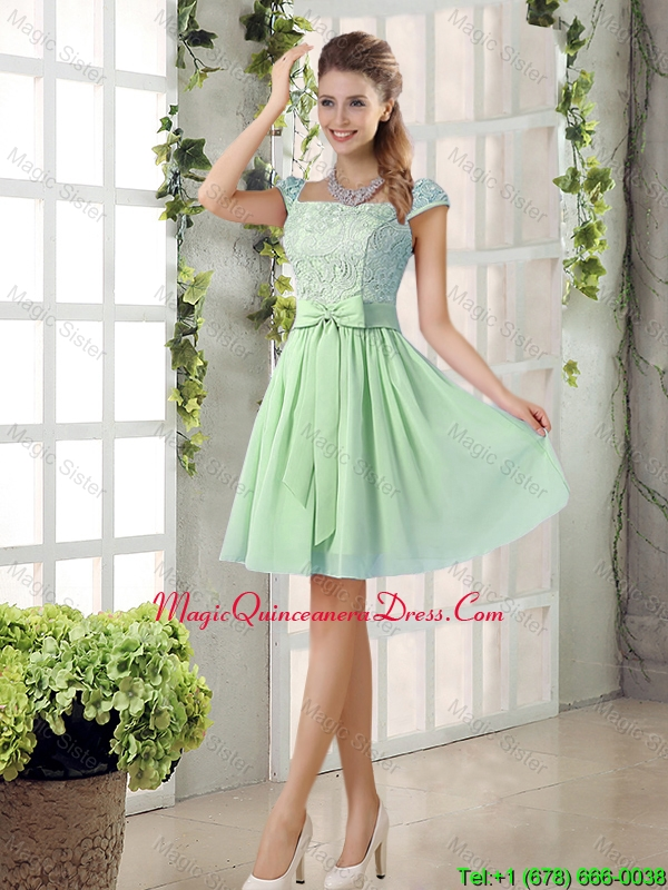 Affordable Square Lace Dama Dresses with Bowknot