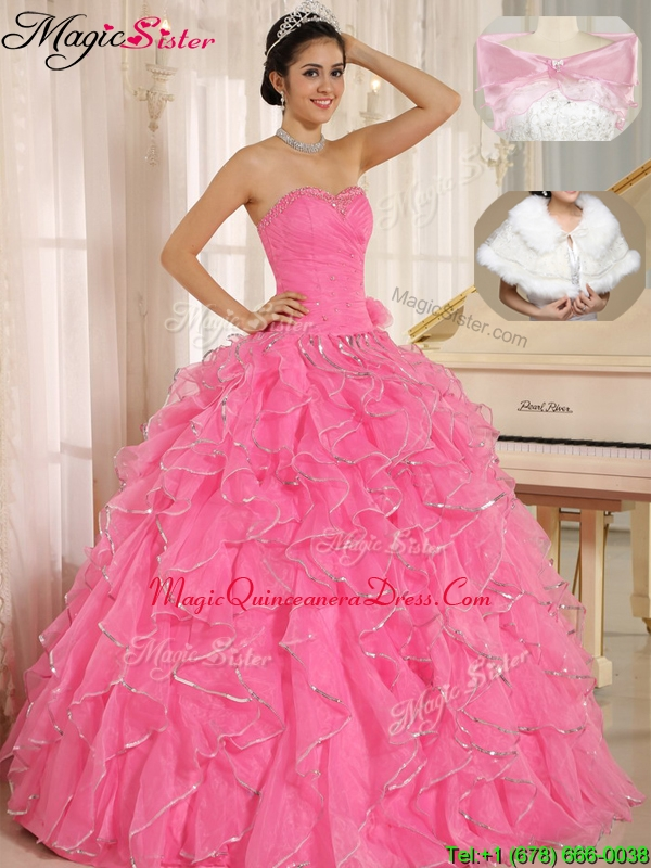 2016 Popular Ruffles and Beading Quinceanera Dresses in Rose Pink