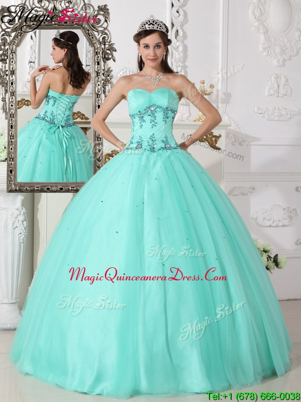 2016 Romantic Green Ball Gown Sweetheart Quinceanera Dresses