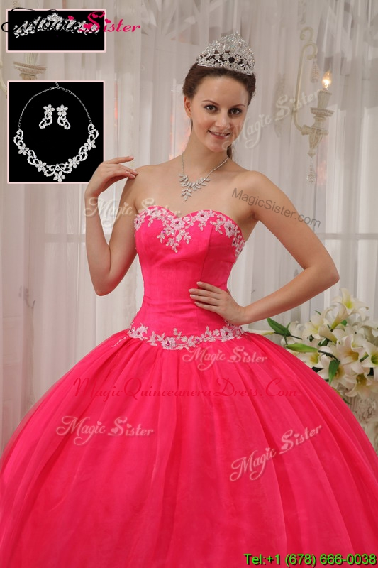 Classic Latest Ball Gown Appliques Quinceanera Dresses in Coral Red