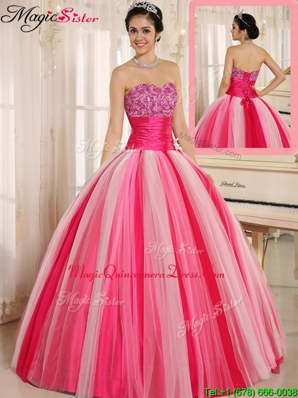 Hot Sale Multi Color Strapless Lace Up Classic Quincanera Dresses