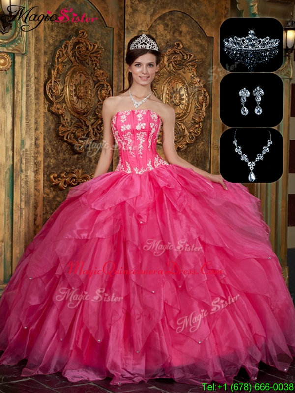 New Arrivals Strapless Hot Sale Quinceanera Dresses with Appliques and Ruffles