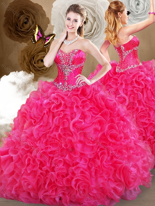 Pretty Hot Pink Sweetheart Quinceanera Dresses with Ruffles