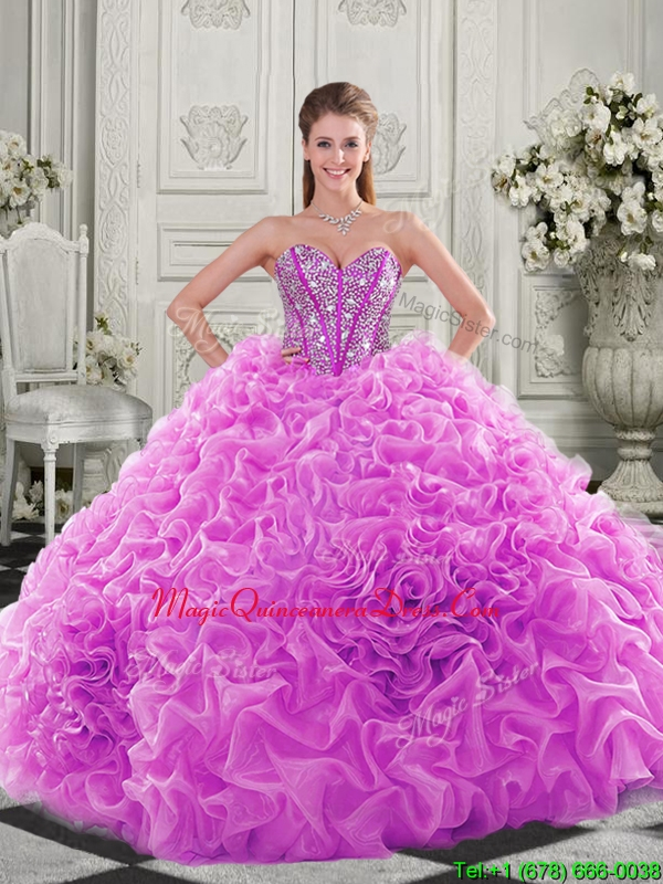 482ad62fa1d Cheap Visible Boning Beaded Bodice Fuchsia Sweet 15 Quinceanera Gown with  Ruffles