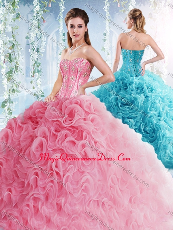 32916c3fa39 Visible Boning Beaded Bodice Detachable Quinceanera Skirts in Rolling  Flowers