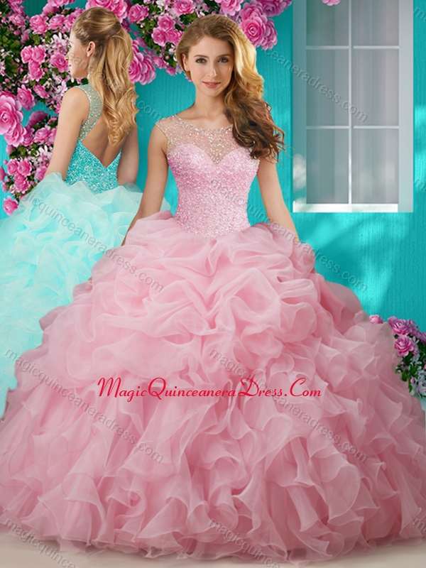 4e4d4afc176 Lovely Beaded and Ruffled Big Puffy Quinceanera Dress with See Through Scoop