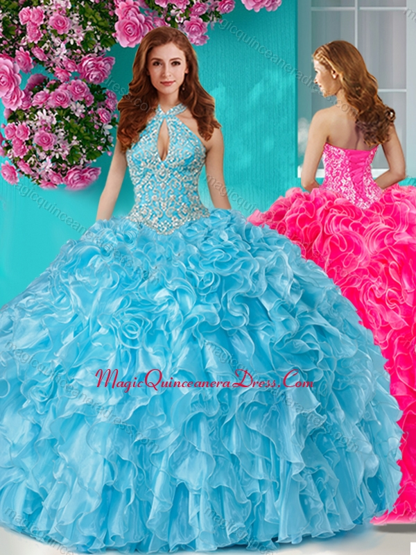 6f9855c3329 Pretty Beaded and Ruffled Big Puffy Quinceanera Dress with Halter Top