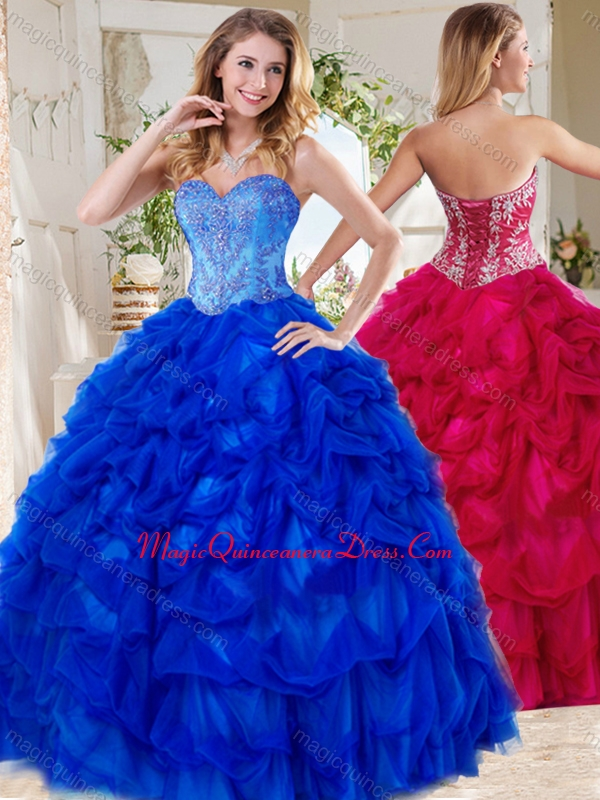 d737cafbd9e Exclusive Blue Big Puffy Quinceanera Gown with Beading and Pick Ups