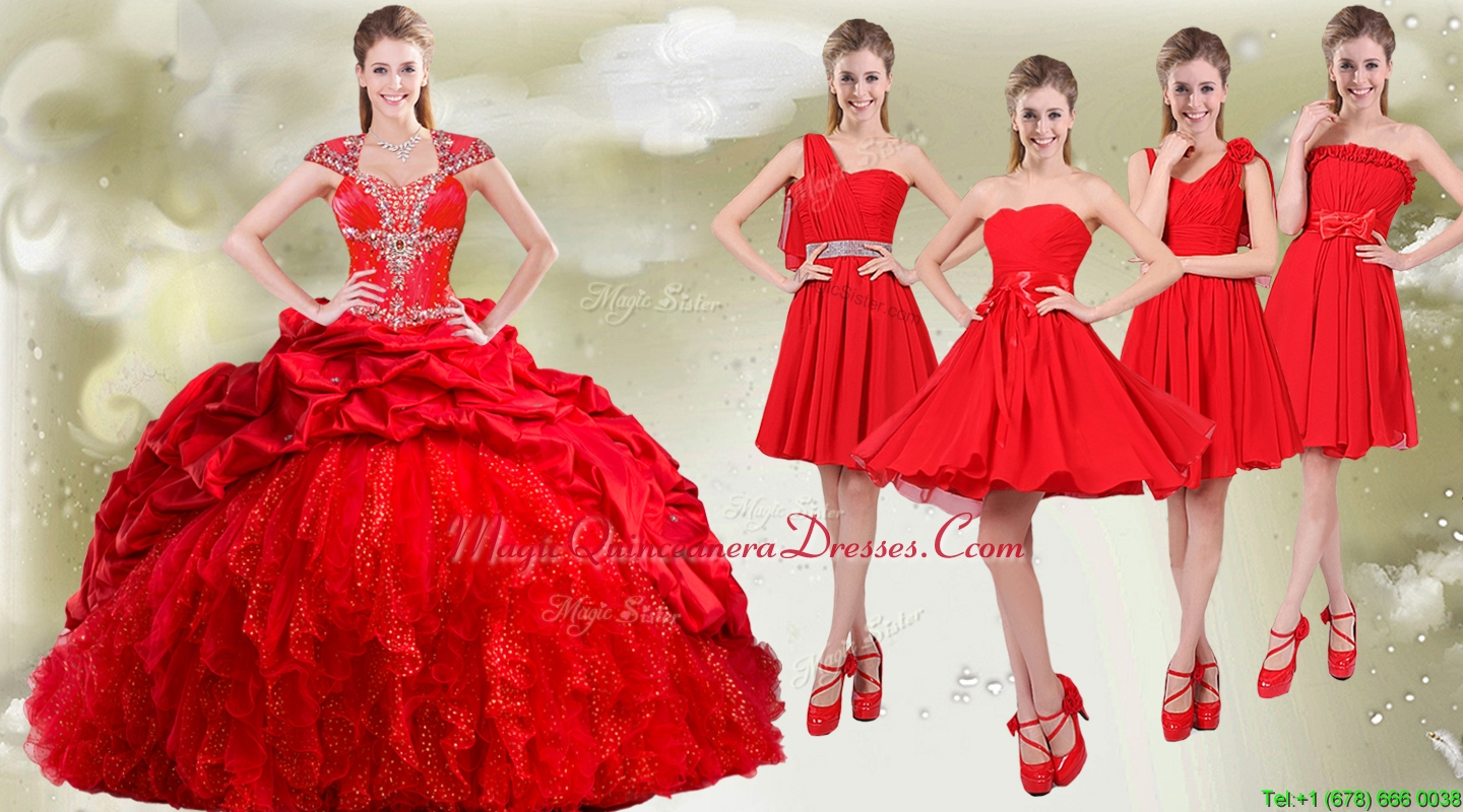 White And Red Quinceanera Dama Dresses Down To Earth Bali