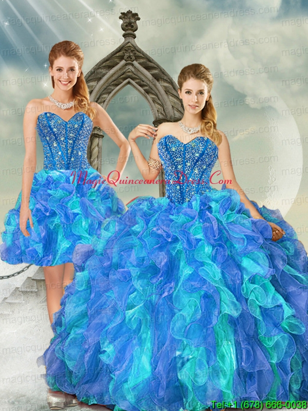 Beading and Ruffles Multi Color Quinceanera Dress Skirts for 2015