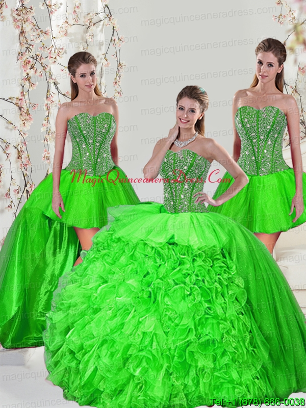 Detachable and Hot Sale Beading and Ruffles Quince Dresses in Spring Green for 2015