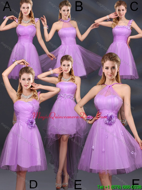 Discount Lilac A Line Dama Dresses with Hand Made Flowers