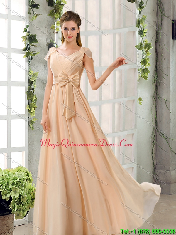 Discount Scoop Ruching Cap Sleeves Chiffon Dama Dresses in Champagne