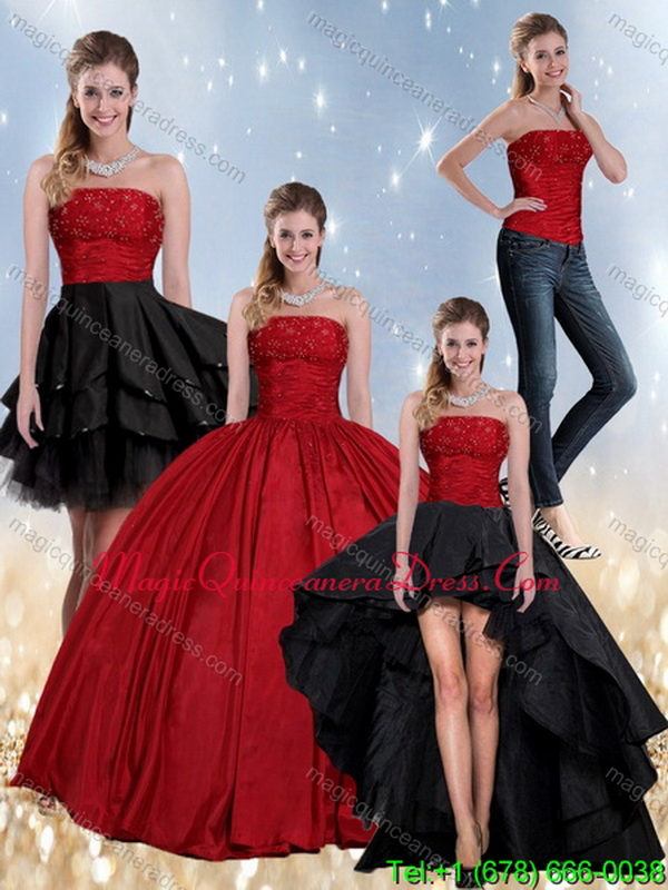 Detachable Beading Strapless Ball Gown 2015 Quinceanera Dress in Red and Black