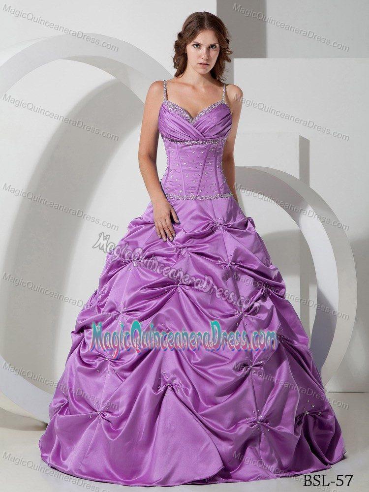Spaghetti Straps Pick-ups Beaded Purple Sweet 16 Dresses in Soacha ...