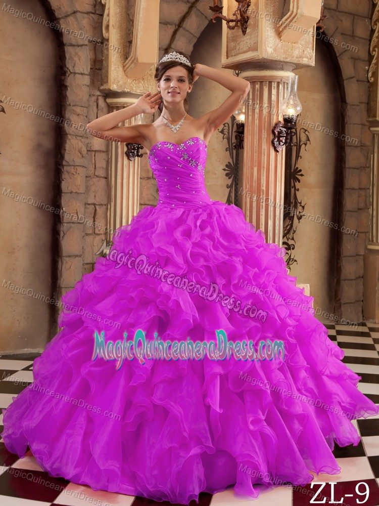 Ruffled Beaded Violet Quinceanera Gown Dresses for Wholesale