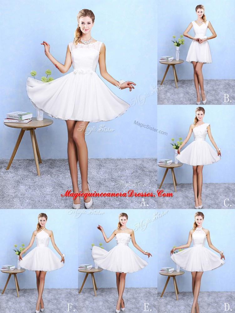 62d7abe1a90 Vintage White Lace Up Quinceanera Court of Honor Dress Lace and Appliques Sleeveless  Knee Length