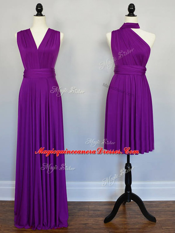 Stunning Purple Chiffon Lace Up Halter Top Sleeveless Floor Length ...
