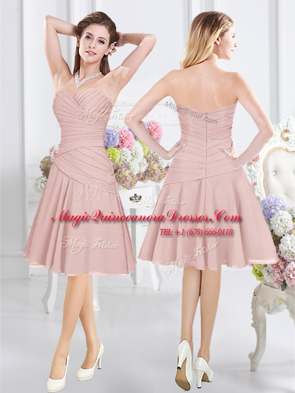 Knee Length Zipper Quinceanera Court of Honor Dress Pink for Prom ...