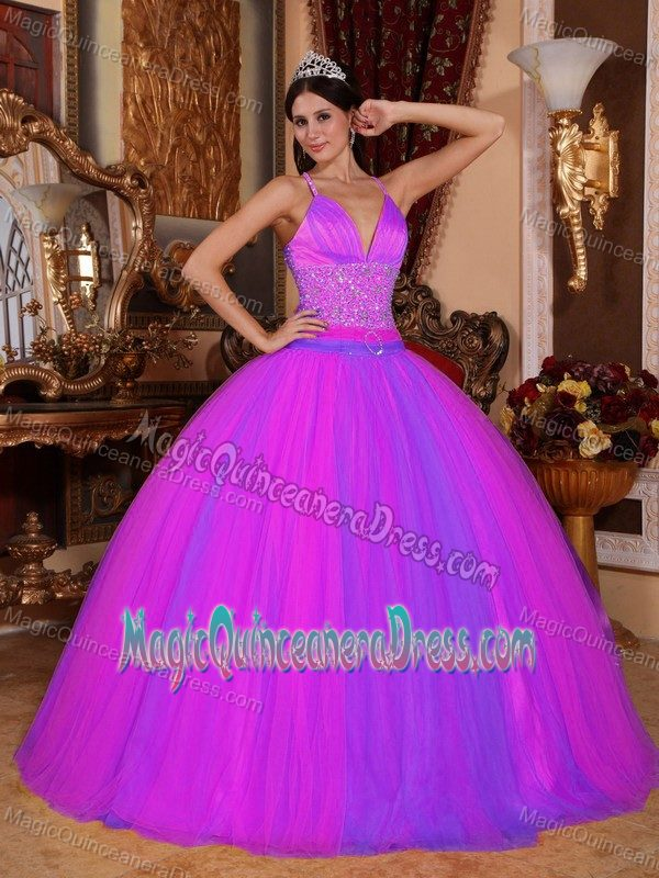 Magenta V Neck Princess Dress For Quince With Beading And Criss Cross Back