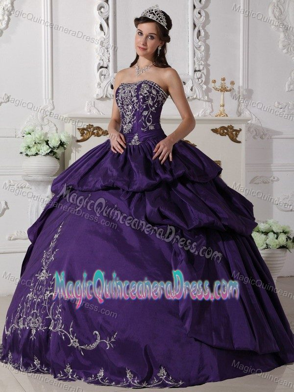 Purple Strapless Taffeta Quinceanera Dress with Embroidery in ...