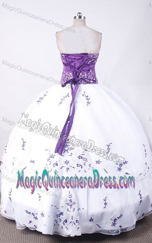 Strapless White and Purple Embroidery Quince Dress in Cartagena Colombia