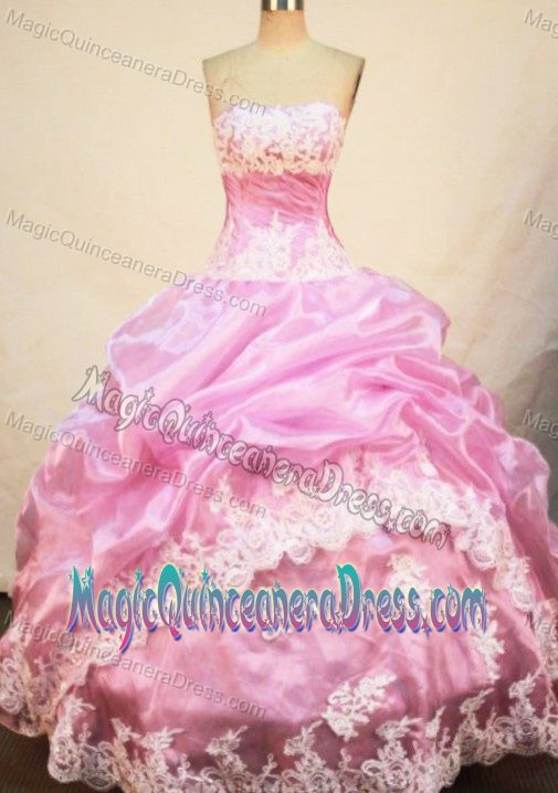 84d6a14c6f Strapless Quinceanera Dress in Oaxaca Mexico with Appliques and Pick-ups