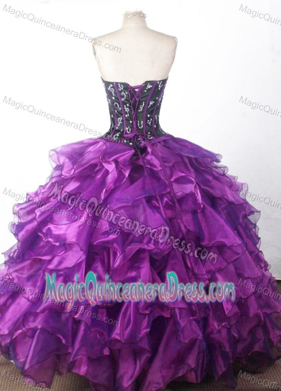 black and purple beaded sweetheart ruffles ball gown sweet