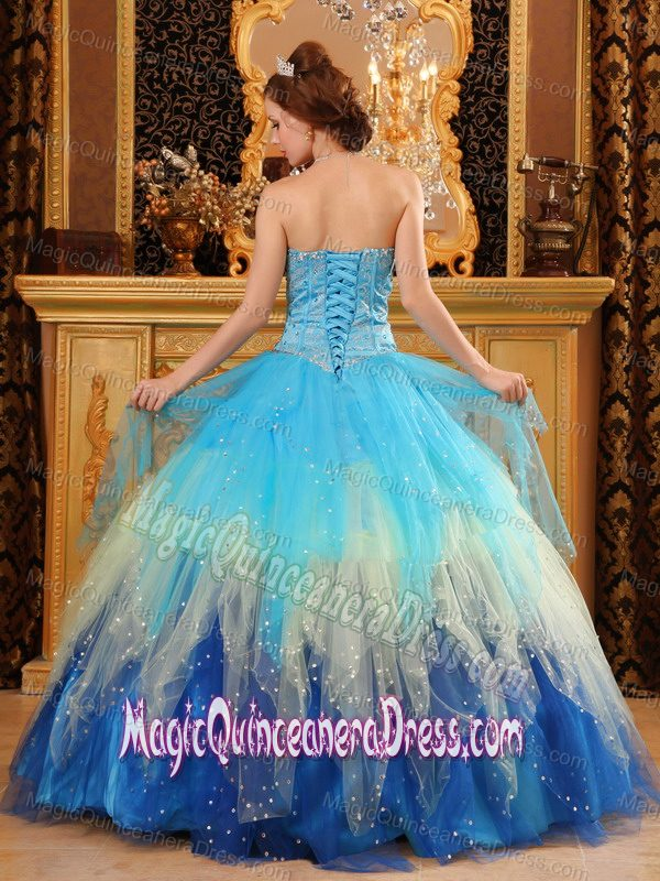 Tow-toned Blue Sweet Sixteen Dresses with Shiny Sequins in Baileys Harbor