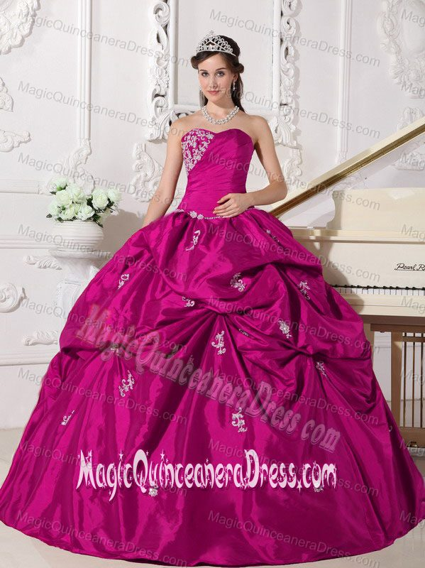 Fuchsia Sweetheart Taffeta Appliques Quinceanera Dress with Pick-ups ...