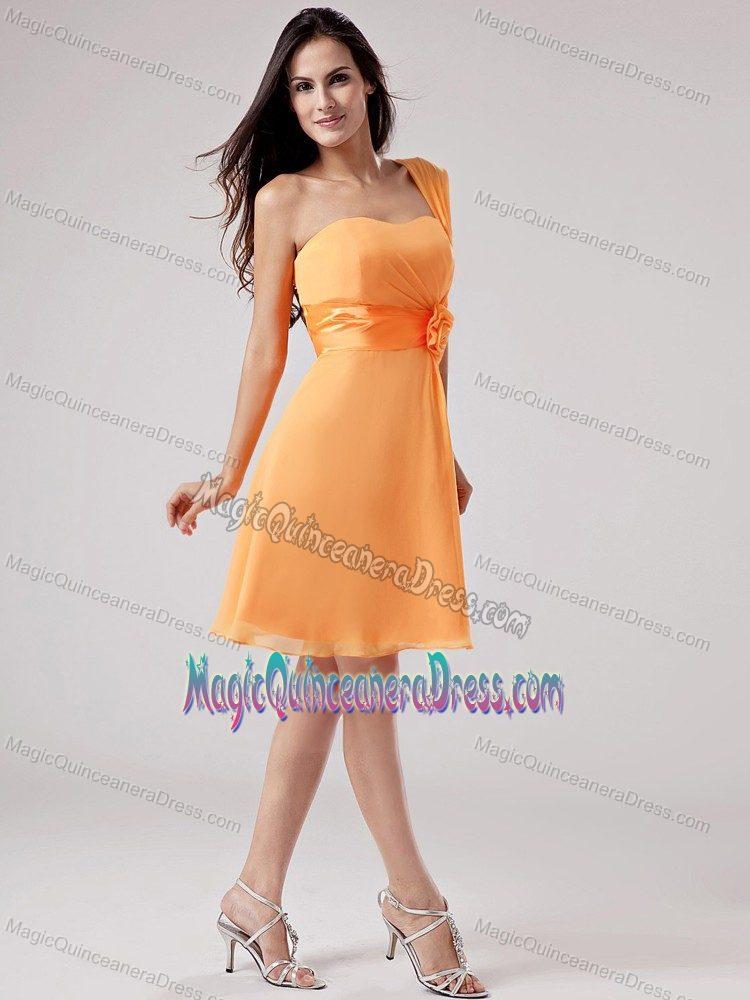 Knee Length Dresses 2 Piece Orange