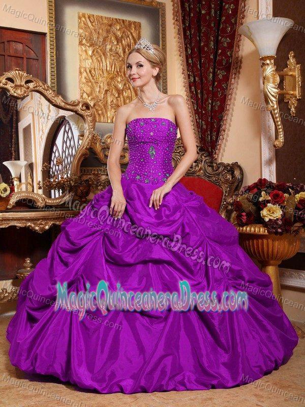 Purple Strapless Floor-length Sweet Sixteen Dress with Pick-ups in Eleva