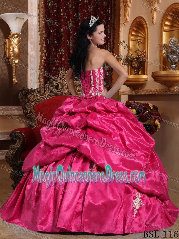 Strapless Princess Quince Dress in Hot Pink with Pick-ups and Appliques