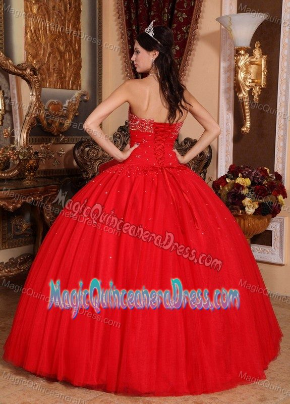 Red Strapless Floor-length Sweet Sixteen Dresses with Beading in Foley