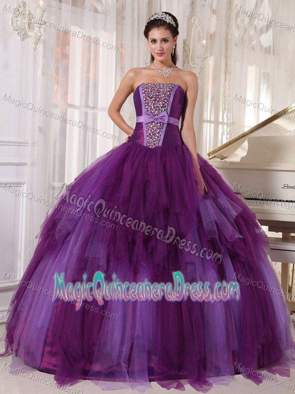 bace4077408e0 High-class Satin Tulle Purple Beaded Quinceaneras Dress in Cobija Bolivia