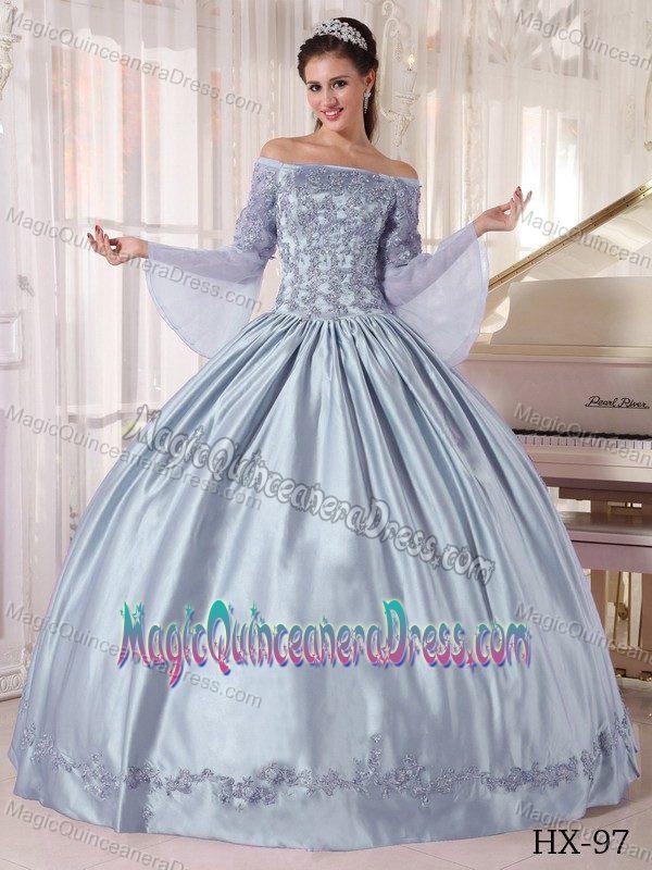 Off the Shoulder Long Dress Silver