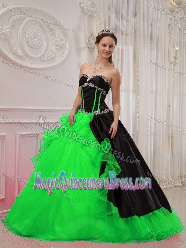 Black And Green Diamonds And Ruffles Quinceanera Gown In Longview