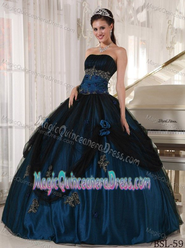 Blue and Black Appliques and Pick Ups Quinces Dresses in Saint Albans