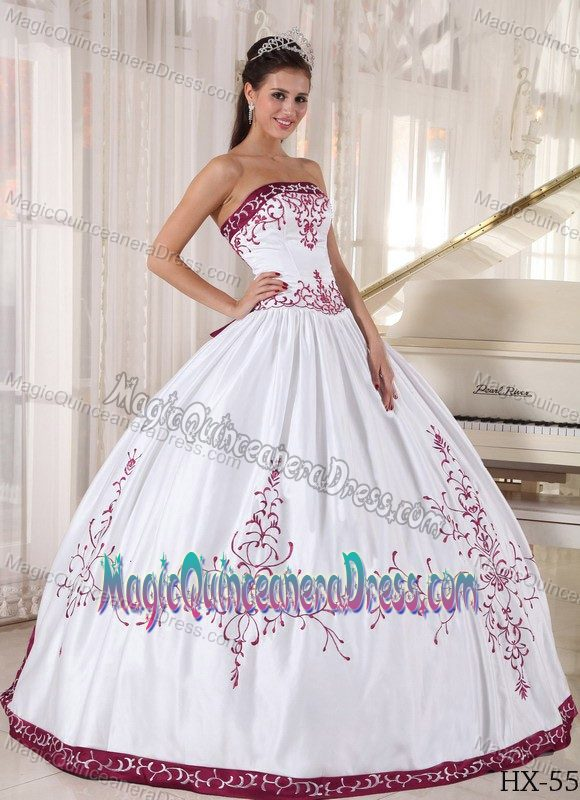 White Quinceanera Dresses with Red Floral Embroidery in Bridgeport