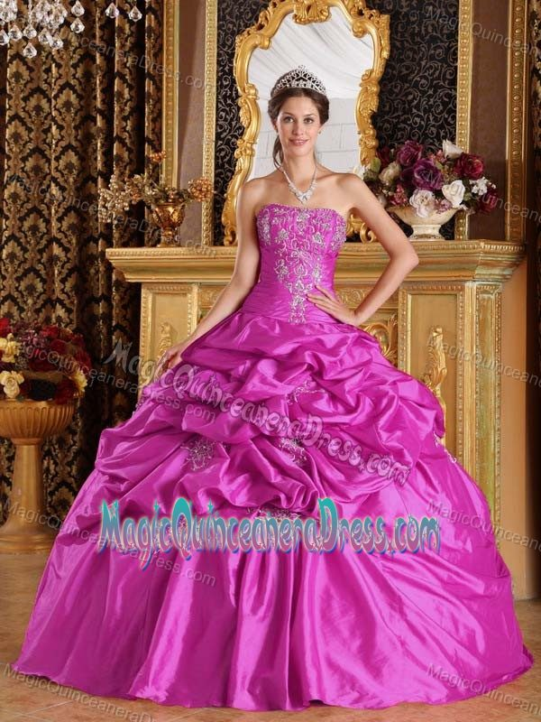 Fuchsia Floor-length Taffeta Quinceanera Dress with Pick-ups in ...