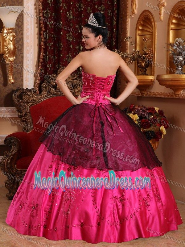 ead868174a Sweetheart Satin Embroidered Beaded Quinceanera Dress in Hot Pink in Waco